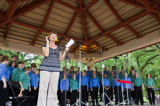 Alison Young hosting Harmony in the Park 2012 (MPR / Eamon Coyne)
