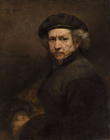 Rembrandt painted this self-portrait after he went bankrupt. He looks care-worn but unbroken.