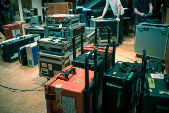 Hot Chip load their equipment in for an in-studio session at The Current.
