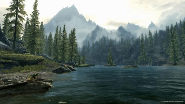 A Lake and Mountains in Skyrim (Bethesda Softworks LLC)