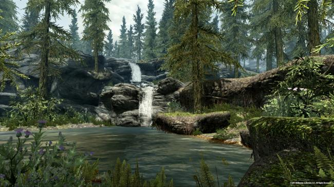 A Waterfall and Lake in Skyrim (Bethesda Softworks LLC)