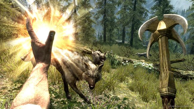 Wolves and magic in Skyrim (Bethesda Softworks LLC)