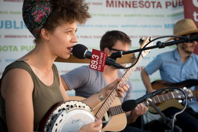 Chastity Brown performs from the MPR booth at the Minnesota State Fair