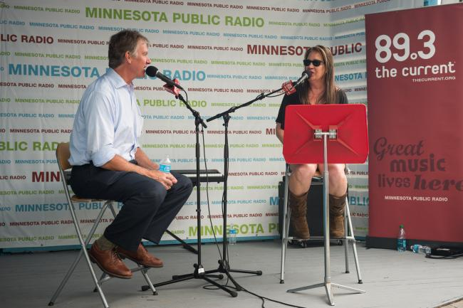 Mayor of Saint Paul Chris Coleman talks to Mary Lucia at the State Fair.