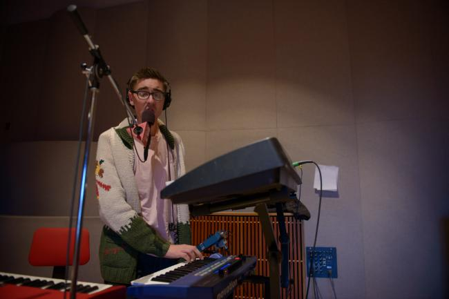 Keyboard player Gus Unger-Hamilton of Alt-J in The Current studio.