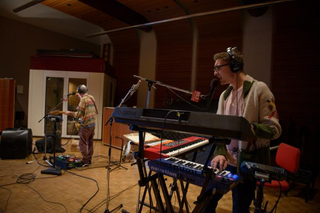 Guitarist Gwil Sainsbury and keyboard player Gus Unger-Hamilton of Alt-J in The Current studios
