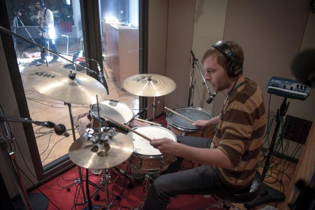 Night Moves' drummer in The Current studio.