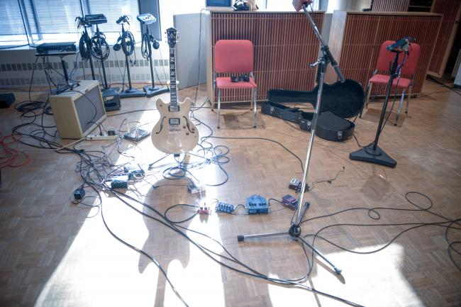 Local rockers Night Moves' equipment in The Current studio.