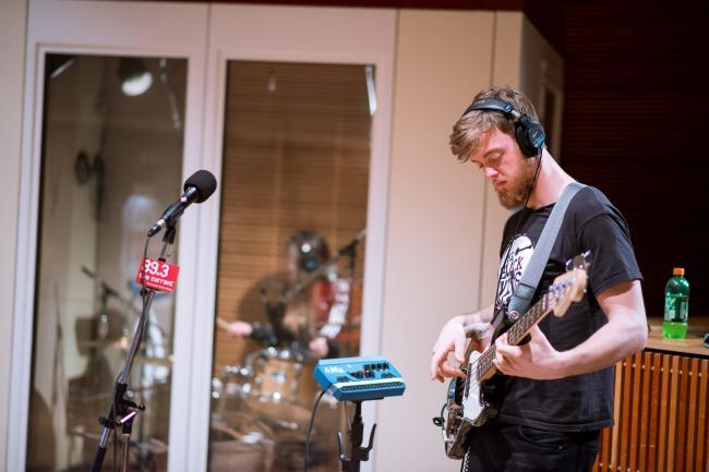 Bassist Nick Gardner of San Cisco in The Current studio.