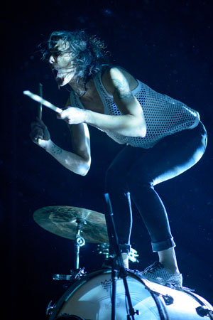 Kim on her drum kit.