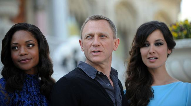 "Britsh actor Daniel Craig, with British actress Naomie Harris, left, and French actress Berenice Marlohe, attend a presentation of the latest James Bond film, ""Skyfall,"" at Ciragan Palace in Istanbul on April 29, 2012."