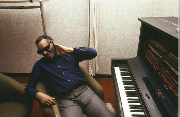 Ray Charles at his piano.