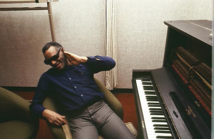 Ray Charles at his piano.