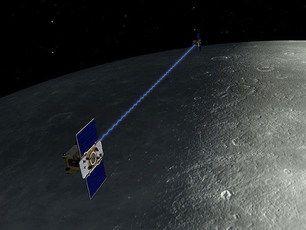 An artist's depiction of the twin spacecraft, Ebb and Flow, that comprise NASA's Gravity Recovery And Interior Laboratory (GRAIL) mission. During the GRAIL mission's science phase, spacecraft transmit radio signals precisely defining the distance between them as they orbit the moon in formation.