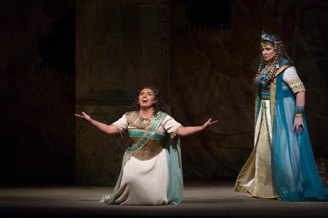 "Liudmyla Monastyrska as the title character and Olga Borodina as Amneris in Verdi's ""Aida."" (Marty Sohl/Metropolitan Opera)"