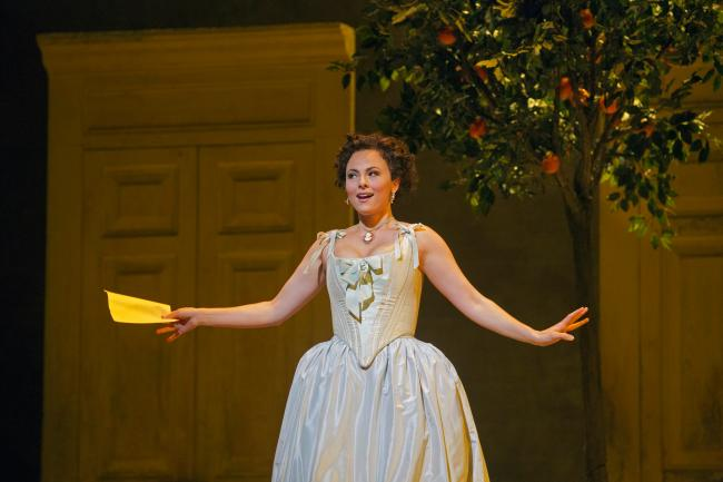 "Isabel Leonard as Rosina in Rossini's ""The Barber of Seville."" (Ken Howard/Metropolitan Opera)"