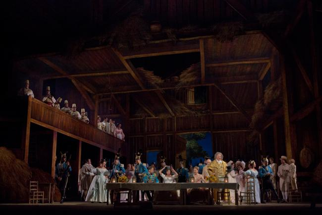 "A scene from Act 2 of Donizetti's ""L'Elisir d'Amore."" (Ken Howard/Metropolitan Opera)"