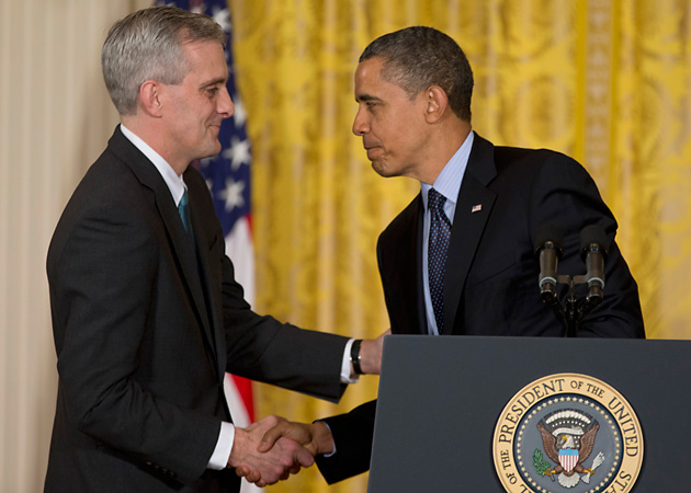 President Barack Obama shakes hands with current Deputy National Security Adviser Denis McDonough in the East Room of the White House in Washington, where he announced that he will name McDonough as his next chief of staff. (AP Photo/Carolyn Kaster)