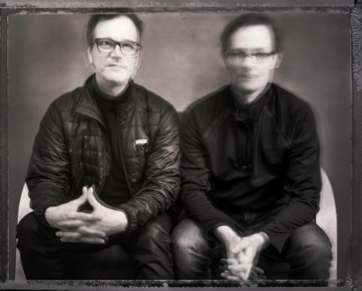 Musical brothers Dan and Matt Wilson, shot on film.