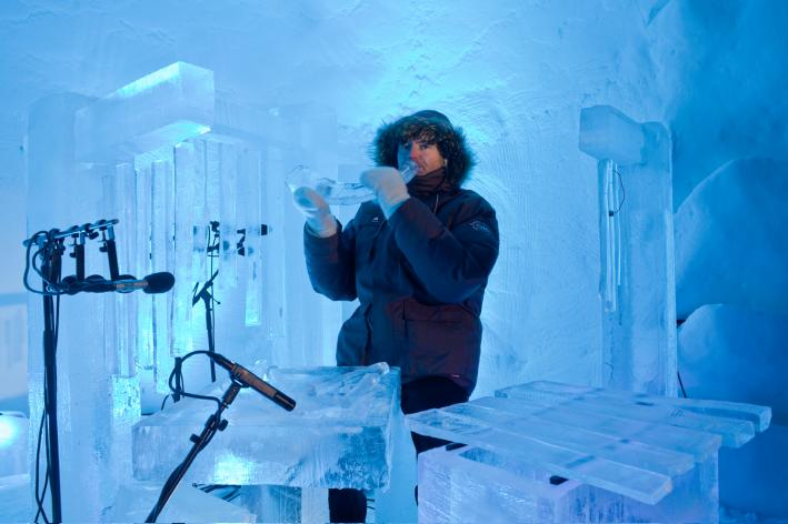 Norwegian musician Terje Isungset displays some of his ice instruments.