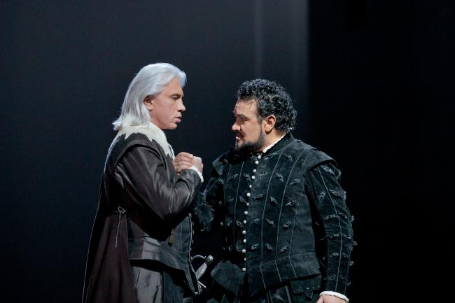"Dmitri Hvorostovsky as Rodrigo and Ramon Vargas in the title role of Verdi's ""Don Carlo."" (Ken Howard/Metropolitan Opera)"