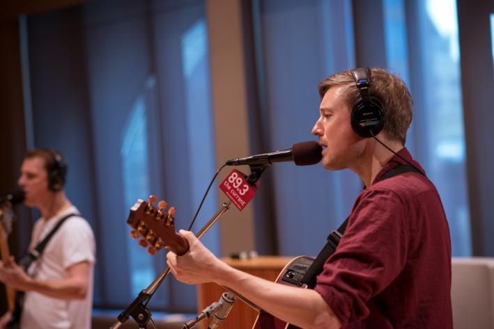 Django Django singer Vincent Neff in The Current studio.