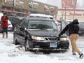Saab stuck in snow
