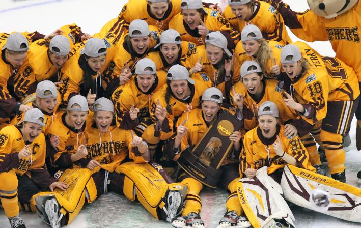 The undefeated Minnesota Gophers women's hockey team won the NCAA championship trophy.