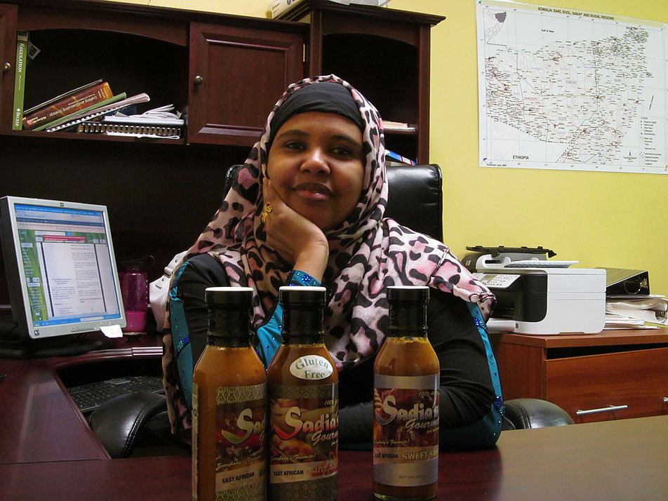 Korad Abdi, known as Sadia, has struggled to pay back a $20,000 loan she received from the city of Minneapolis to finance her company, Sadia Hot Sauce.