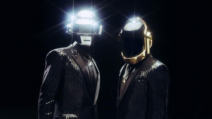 Long-running French house/electro-pop duo Daft Punk in the latest rendition of their trademark robot outfits.