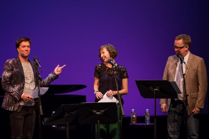 Kristen Schaal at Wits with Rufus Wainwright and host John Moe.