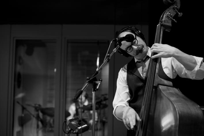 Upright bassist Zack Hickman of Josh Ritter's Royal City Band in The Current studio.