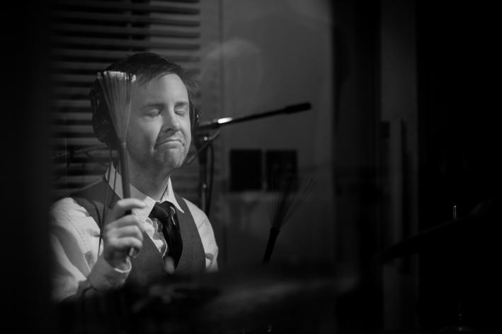 Drummer Liam Hurley of Josh Ritter's Royal City Band in The Current studio.