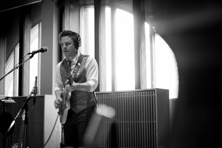 Guitarist Austin Nevins of Josh Ritter's Royal City Band in The Current studio.