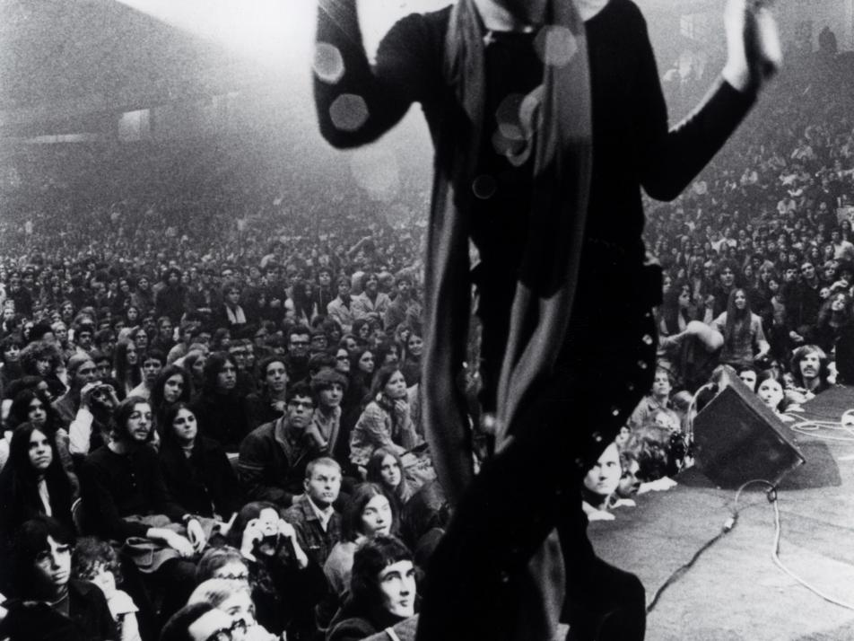 Mick Jagger showing off some of his classic dance moves.
