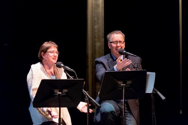Julia Sweeney and host John Moe at Wits.