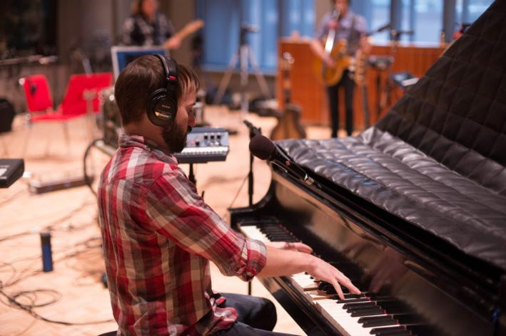 Keyboard player Ryan Ross of the Lonely Wild in The Current studio.