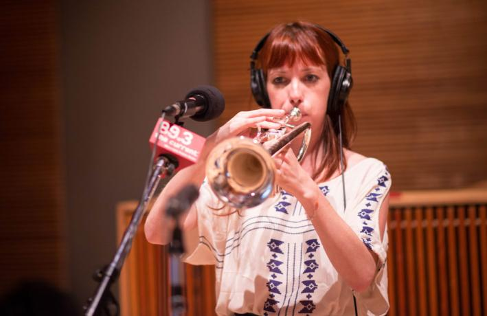 Singer and trumpet player Jessi Williams of the Lonely Wild in The Current studio.