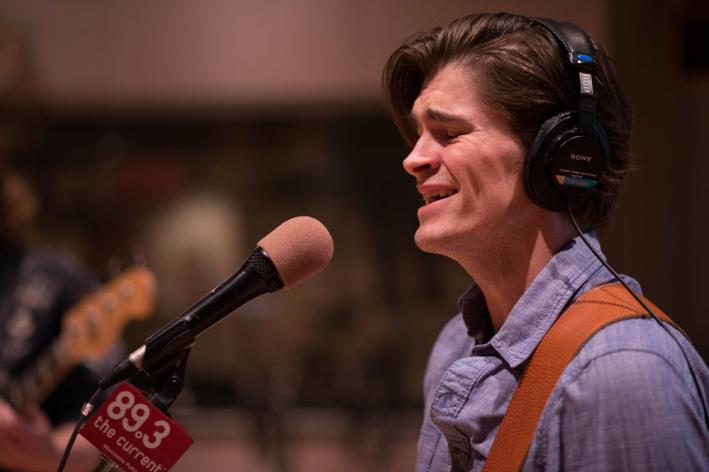 Singer Andrew Carrol of the Lonely Wild in The Current studio.