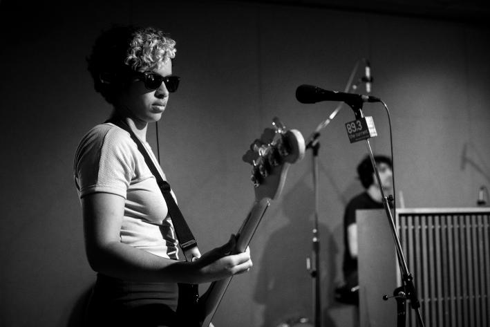 Bassist and singer Kathy Foster of The Thermals in The Current studio.
