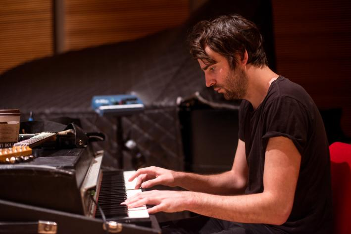 Foals keyboard player Edwin Congreave in The Current studio.