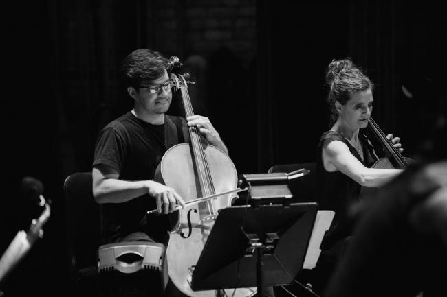 Dessa's string instrumentalists performing at the Fitzgerald Theater