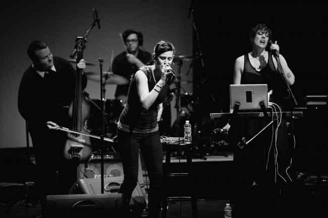 Dessa performing live at the Fitzgerald Theater