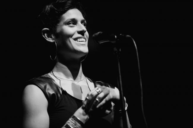 Dessa performing at the Fitzgerald Theater