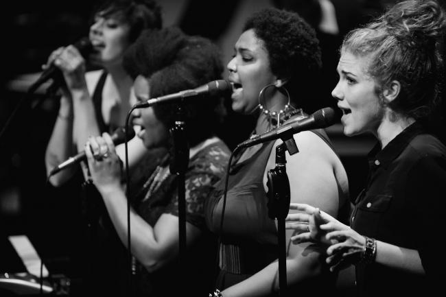 Dessa's band including Aby Wolf and Lizzo of The Chalice performing at the Fitzgerald Theater