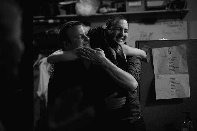 Dessa hugs two friends after performing a sold out show at the Fitzgerald Theater