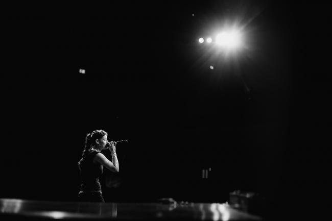 Dessa performing a sold out show at the Fitzgerald Theater