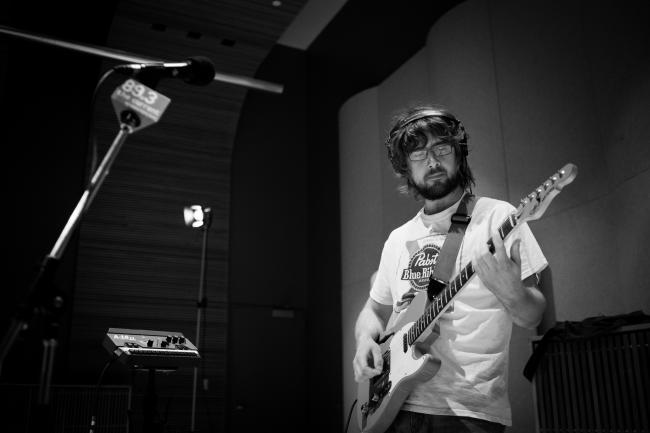 Guitarist Jackson Atkins of The Goondas sound checks in The Current studios.