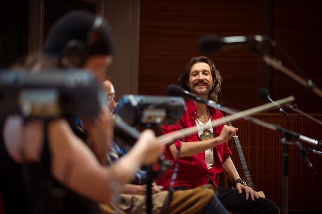 Euguen Hutz and company of Gogol Bordello sound checking in The Current studios