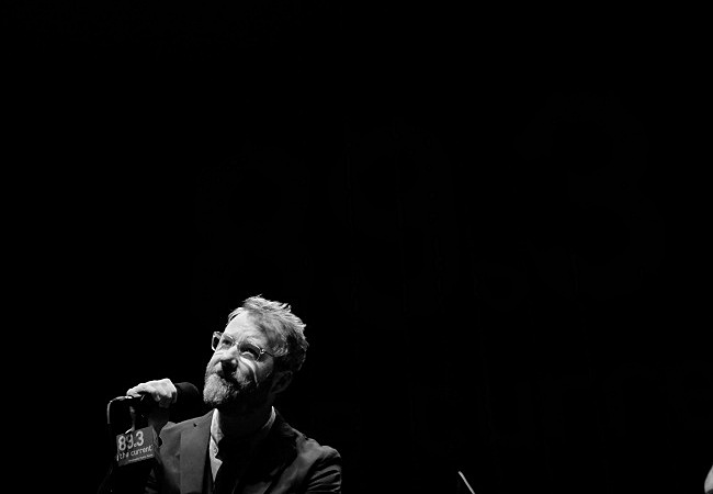 Matt Berninger of The National gazes at the crowd in Minnesota Public Radio's UBS Forum. August 6, 2013.